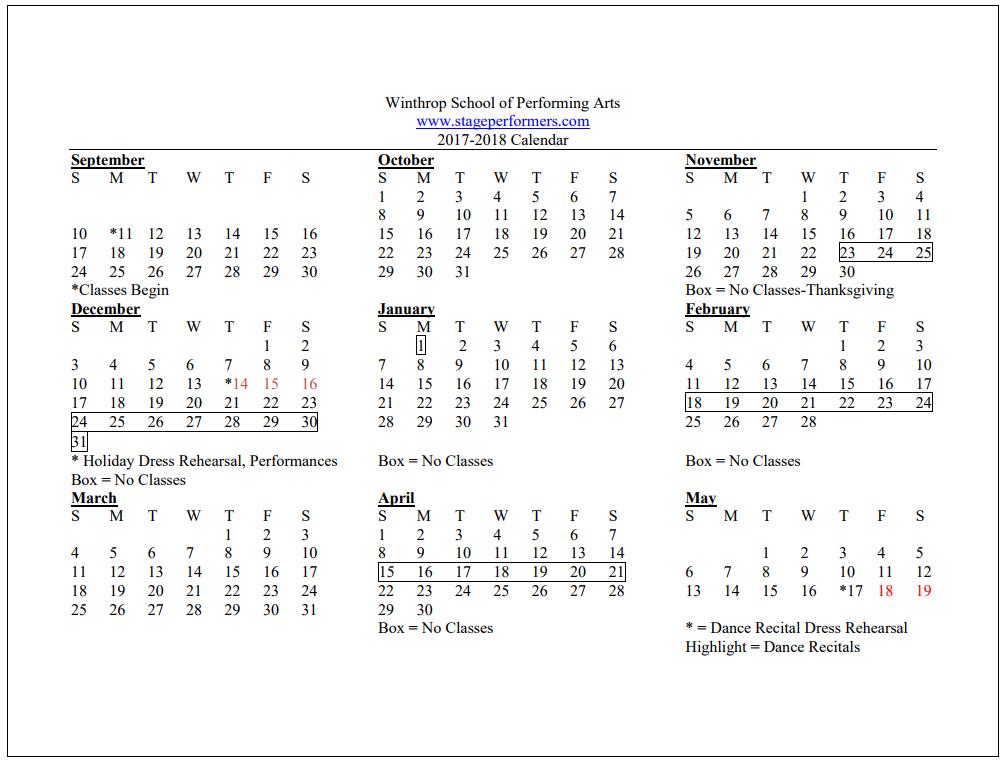 Calendar   Winthrop School of Performing ArtsWinthrop School of
