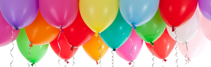 colourful helium balloons isolated on white background