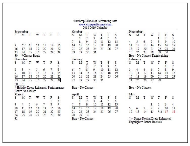 Winthrop Calendar 2019 Calendar   Winthrop School of Performing ArtsWinthrop School of